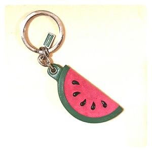 Adorable COACH Suede watermelon Slice Keychain Fob